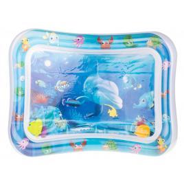 Covor saltea cu apa, centru de activitati pentru bebelusi, model vietati de apa colorate , 62x45 cm, albastru