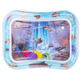 Covor saltea cu apa, centru de activitati pentru bebelusi, model vietati marine, 62x45 cm, albastru