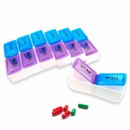 Cutie organizator medicamente sapte zile cu doua compartimente pe zi