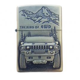 Bricheta tip zippo, 3d relief, metalica, king of 4wd m3