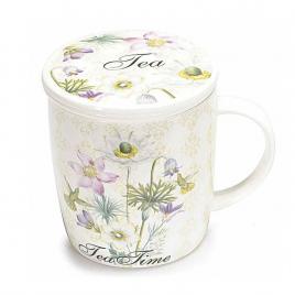 Cana cu capac si infuzor din ceramica alba tea Ø 8.5 cm x 10 h