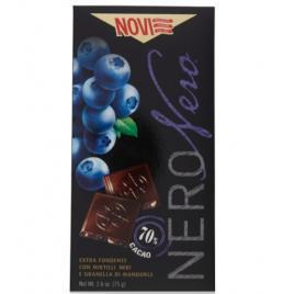 Ciocolata italiana cu afine si migdale novi nero nero 70% cacao 75g