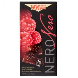 Ciocolata italiana cu zmeura si migdale novi nero nero 70% cacao 75g