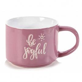Cana din ceramica roz alb Ø 9 cm x 7 h