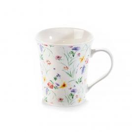 Cana din portelan alb decor floral Ø 9.5  cm x 10.5 h