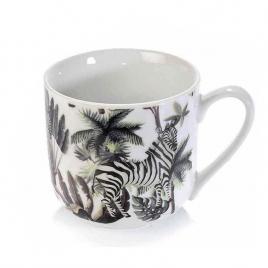 Cana din portelan alb negru model zebra Ø 9.5 cm x 9.5 h 450 ml