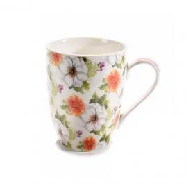 Cana din portelan decor floral Ø 8 cm x 10.5 h 330 ml