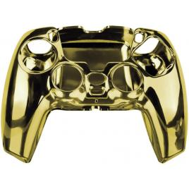 Carcasa Husa Protectie Completa Controller PS5 Crystal Clear, Electroplating Chrome Auriu, Anti-Socuri, Zgarieturi, Dustproof