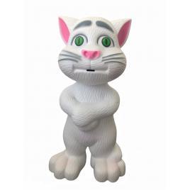 Jucarie Pisica Talking Tom, Interactiva, Functii Tactile, Inregistrare, Vorbire, Cantece, Povesti, Alb, 20cm