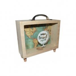 Pusculita din lemn,save travel repeat, 21 x 7 x 22 cm