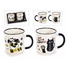 Set 2 cani din portelan alb negru animals Ø 7,5 cm x 8 h 230 ml