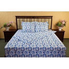 Lenjerie de pat dublu 220 x 240cm, 4 piese, bumbac 100%, Kat & Dor, Lant / Albastru