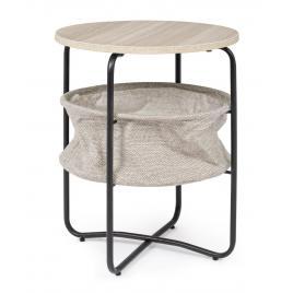 Masuta rotunda de cafea din fier blat din lemn si suport textil reviste leisure Ø 42 cm x 51 h