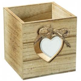 Suport din lemn,pentru creioane,si pixuri, model inima sau masinuta, 9x9x9 cm