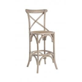 Scaun de bar din lemn gri cu sezut din rattan cross 50 cm x 52 cm x 118 h x 73 h1