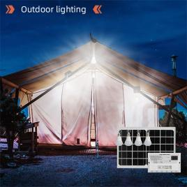 Sistem pentru iluminat cu 4 becuri LED, panou solar 9V/12W si 1xUSB incarcare telefon