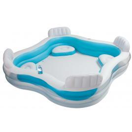 Piscina gonflabila intex cu 4 scaune cu spatar si suport bauturi, capacitate 763l, culoare albastru/alb