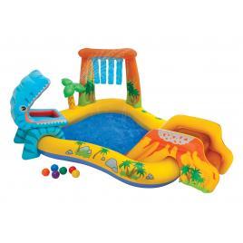Piscina gonflabila intex pentru copii, dinozaur cu jeturi de apa si 6 mingi, capacitate 216l