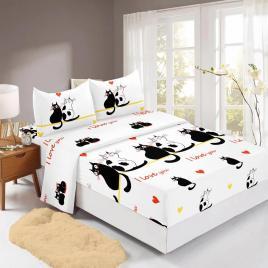 Husă pat finet+2 fețe pernă, ralex, culoare alb / negru, model hf160-21