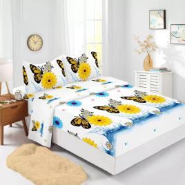 Husă pat finet+2 fețe pernă, ralex, culoare alb / galben, model hf140-5