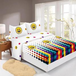 Husă pat finet+2 fețe pernă, ralex, culoare alb / galben, model hf160-6