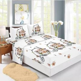 Husă pat finet+2 fețe pernă, ralex, culoare alb / negru, model hf160-15