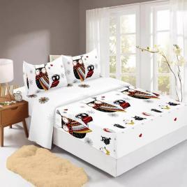 Husă pat finet+2 fețe pernă, ralex, culoare alb / negru, model hf160-19