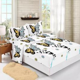 Husă pat finet+2 fețe pernă, ralex, culoare alb / negru, model hf160-22