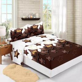 Husă pat finet+2 fețe pernă, ralex, culoare maro / alb, model hf160-8