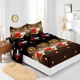 Husă pat finet+2 fețe pernă, ralex, culoare maro / negru, model hf160-1