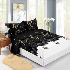Husă pat finet+2 fețe pernă, ralex, culoare negru / alb, model hf140-18