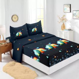 Husă pat finet+2 fețe pernă, ralex, culoare negru / bleu, model hf160-14