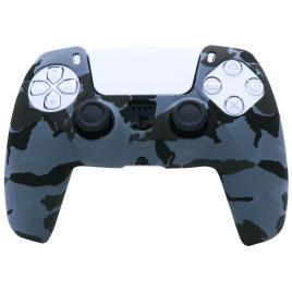 Carcasa Tip Husa de Silicon Controller PS5, Protectie Completa, Model Camo Albastru/Negru, Anti-Socuri, Zgarieturi, Dustproof