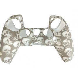 Carcasa Tip Husa de Silicon Controller PS5, Protectie Completa, Model Craniu Alb/Gri, Anti-Socuri, Zgarieturi, Dustproof