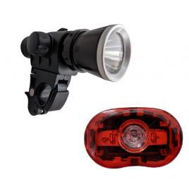 Kit 2 Lumini Bicicleta Premium, Lanterna Far de Metal cu LED 1 Watt, 30 lumeni, Stop Lampa Spate cu 2 Leduri Rosii 0.5 Watt, Rezistente la Apa, Suport Prindere Ghidon