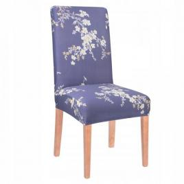 Husa scaun dining/bucatarie, din spandex, imprimeu floral, culoare albastru