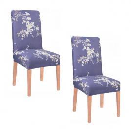 Set husa scaun dining/bucatarie, din spandex, imprimeu floral, culoare albastru, 2buc/set