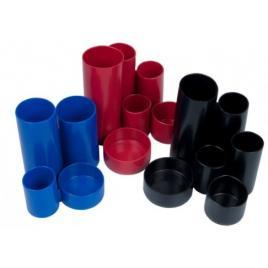 Suport instrumente de scris flaro cilindric,4 compartimente, albastru