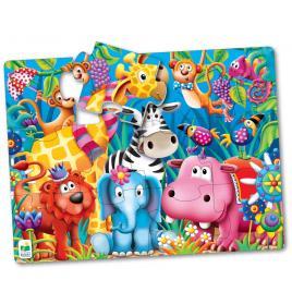 Primul meu puzzle de podea 12 piese - animale in jungla