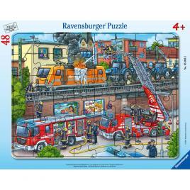 Puzzle ravensburger 48 piese - misiune de salvare pompieri