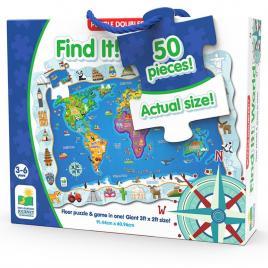 Puzzle si joc harta lumii 50 piese