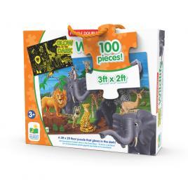 Puzzle straluceste in intuneric 100 piese - animale salbatice