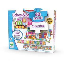 Set 2 puzzle-uri trenul urias cu forme si culori 60 piese