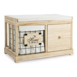Bancuta cu 1 sertar si 1 cos depozitare din lemn natur metal maro home deluxe 64 cm x 34 cm x 42 h