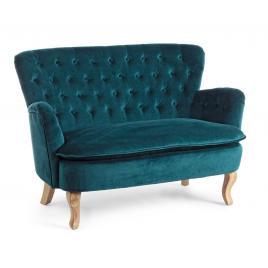 Canapea 2 locuri cu tapiterie din velur verde si picioare lemn natur orlins 114 cm x 69 cm x 79 h x 44 h1 x 59 h2