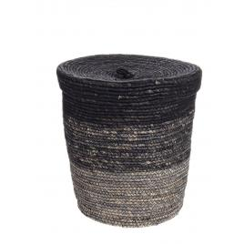 Cos cu capac din iarba de mare negru gri fade Ø 35 cm x 35 h