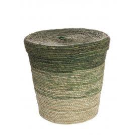 Cos cu capac din iarba de mare verde fade Ø 35 cm x 35 h