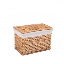Cos depozitare din lemn de salcie si  textil natur laren 42 cm x 27 cm x 29 h