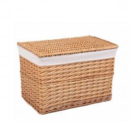 Cos depozitare din lemn de salcie si textil natur laren 52 cm x 34 cm x 35 h