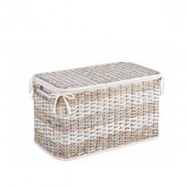 Cos depozitare din rattan textil alb crem stacy 55.88 cm x 30.48 cm x 33.02 h